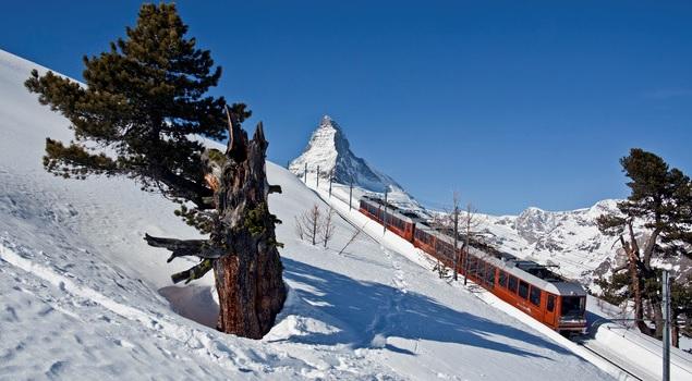 il trenino del gornergrat in inverno