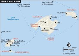Cartina Spagna Isole Baleari.Isole Baleari